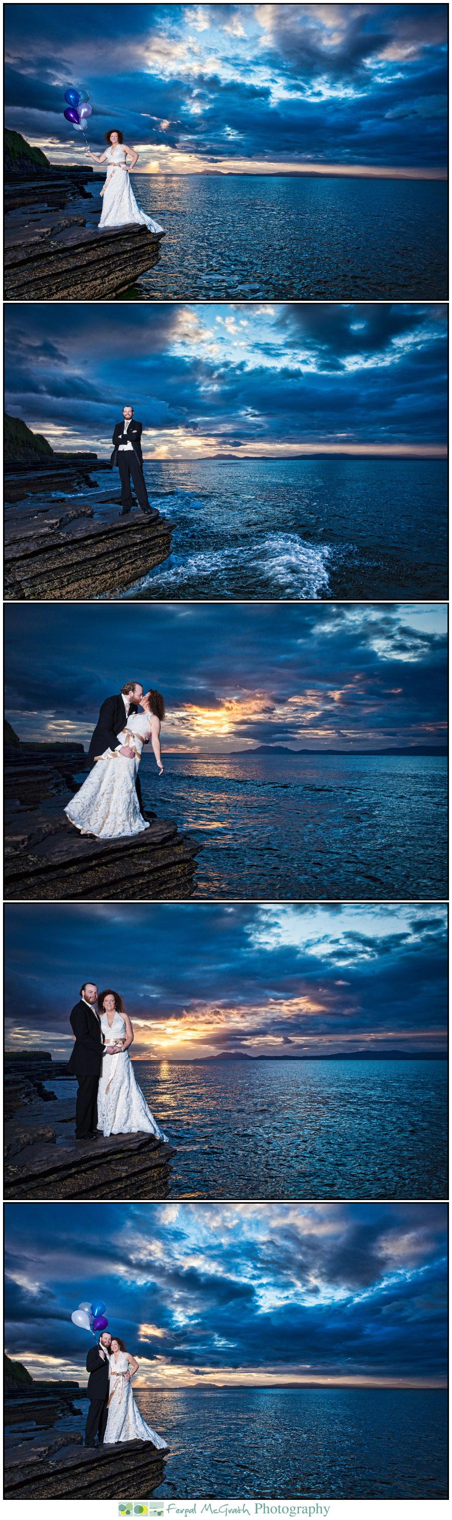 cherish the dress thrash the dress wedding photos sligo bundoran sunset photos