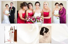 Digital wedding album design of bride and bridesmaids getting ready