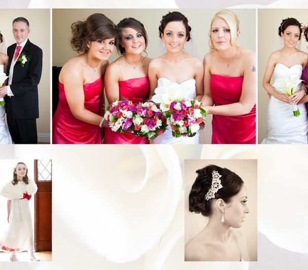 Digital wedding album design of bride and bridesmaids getting ready