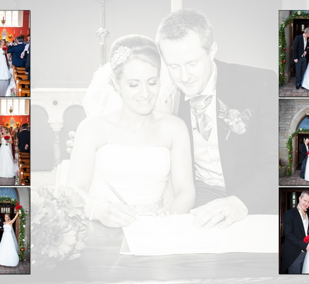 Sample page spread bride and groom leaving the church