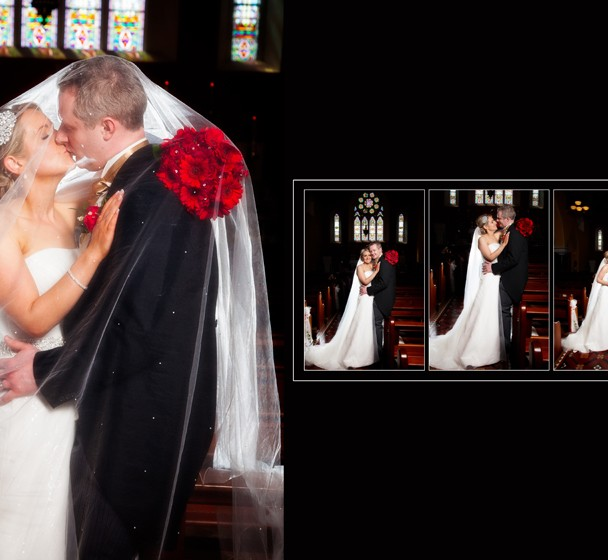 Bride and groom portraits in the church