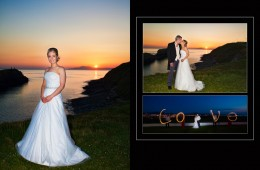 Storybook Sample bride and groom at sunset