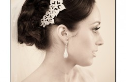 Photo of the Brides Wedding Hair Piece and ear rings