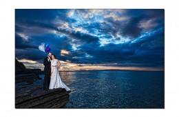 Bride And Groom At Sunset On Cliff Top At Sunset In Bundoran