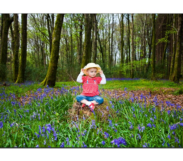 Girl with strawhat among the bluebells Castlecaldwell Belleek Co Fermanagh