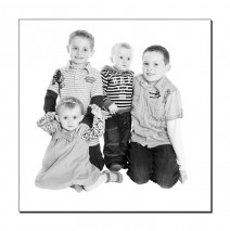 Young family black and white portrait