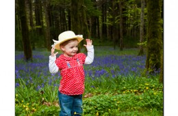 Little girl among the bluebells