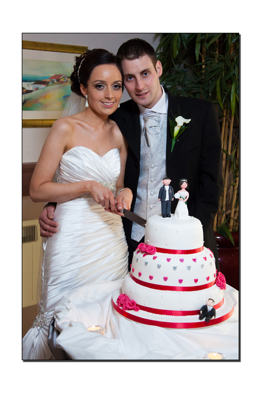 Newlyweds cutting the cake at the Millpark Hotel Donegal
