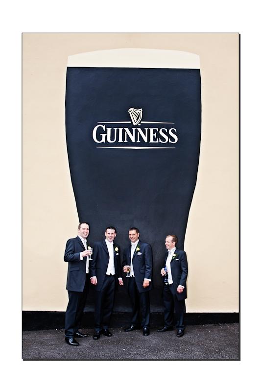 Groomsmen at the Guinness Sign Ballybofey