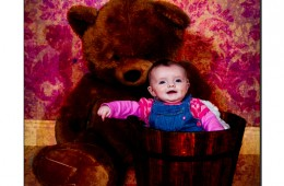 Baby girl in a planter pot with a big teddybear