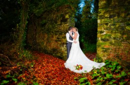 bride and groom in castle caldwell forest park belleek co fermanagh in autumn