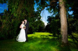 bride and groom under a tree in castle archdale co fermanagh