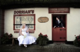 bride and groom outside dorrians thatch pub ballyshannon