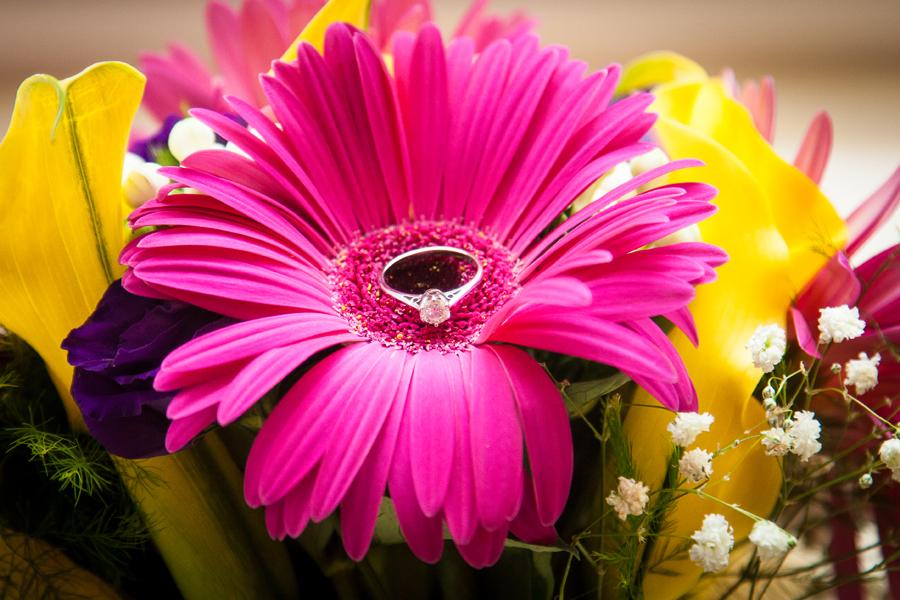 Sligo wedding photography brides engagement ring in flower bouquet
