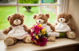 wedding photography details shot bears with bridal bouquet