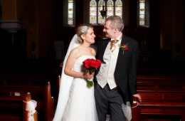 bride and groom in St Aidans church kinlough
