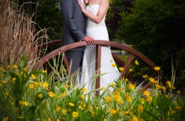 bride and groom photo in the mill park hotel garden
