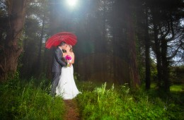 sligo wedding photographer couple in a forest with an umbrella