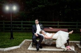 donegal wedding photographers bride and groom on a bench