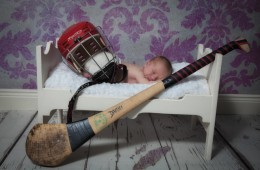 newborn baby photographer sligo baby boy with hurling gear