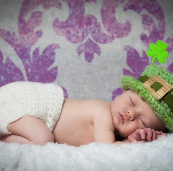 newborn baby photographer sligo baby boy with irish hat
