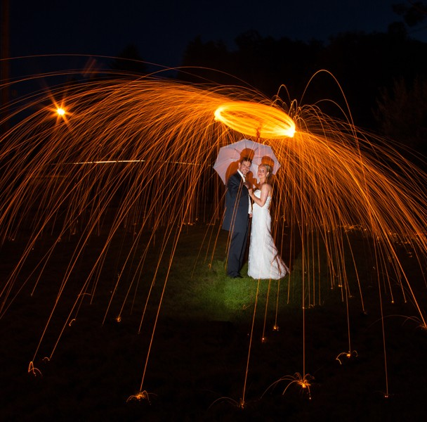 wedding photography sligo bride and groom night time light painting photo