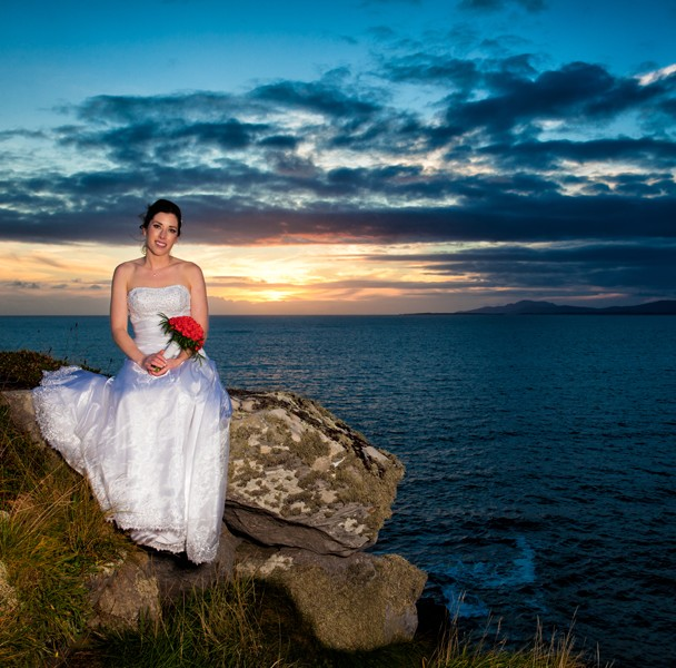best donegal wedding photographers bride at creevy pier at sunset
