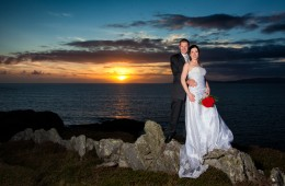 donegal wedding photographers bride and groom in front of beautiful sunset