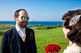 donegal wedding photographers bride reflected in the grooms sunglasses