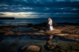 donegal wedding photography bride and groom at creevy pier