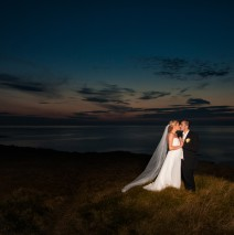 sligo wedding photographer bride and groom at sunset in mullaghmore