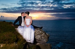 wedding photographers donegal bride and groom at creevy head at sunset