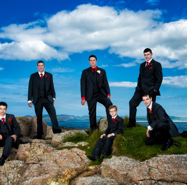 donegal wedding photographers groom and groomsmen in clonmany wedding