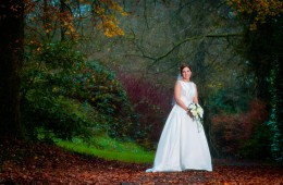 beautiful bridal portrait in autumn in donegal