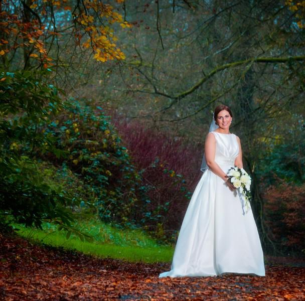 beautiful bridal portrait in autumn in donegal
