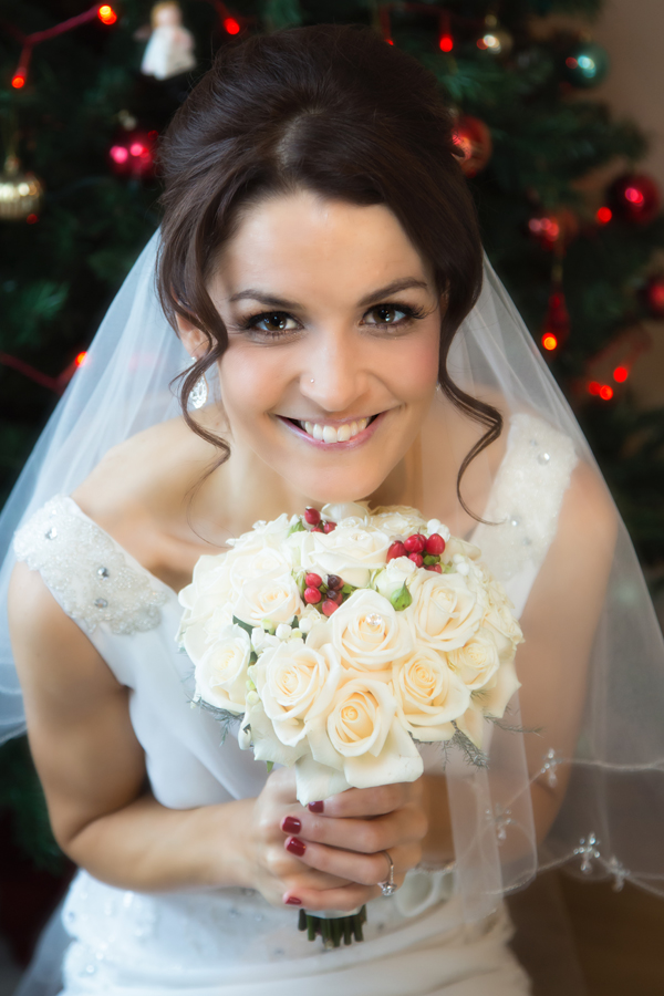beautiful bridal portrait of a christmas bride in donegal wedding