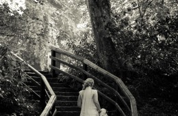 fermanagh wedding photographer bride on steps in  forest setting