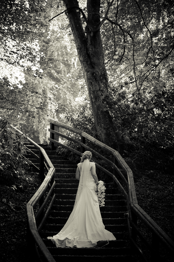Fermanagh wedding photographer bride on steps in forest for Wedding photography settings