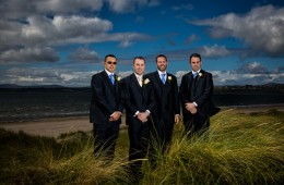 groom and groomsmen wedding photo on murvagh beach
