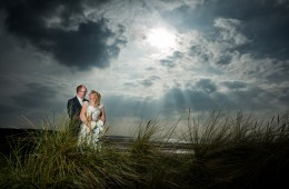wedding photo of bride and groom on murvagh beach in donegal