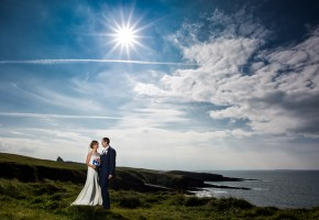 Donegal and Sligo Wedding Photographer bride and groom at mullaghmore head in county sligo