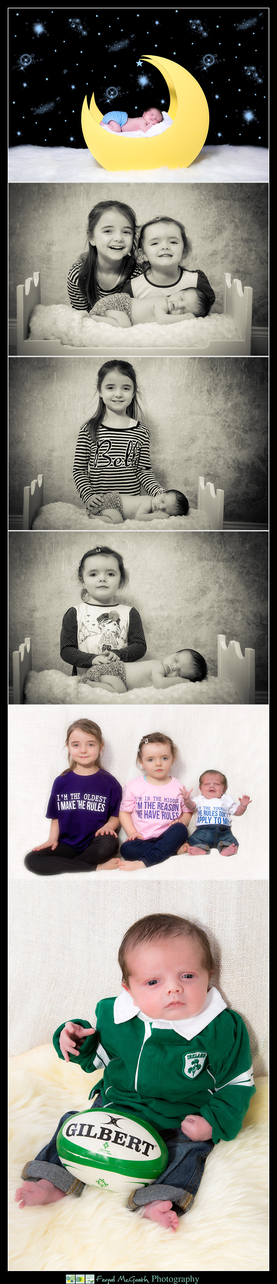Newborn Baby Photography Donegal and Sligo newborn boy with his sisters and on a wooden moon prop