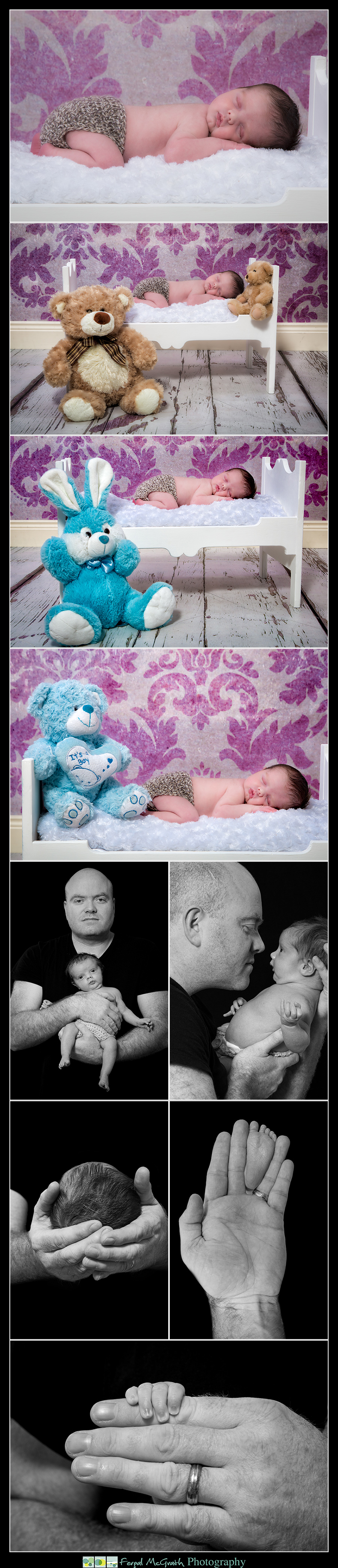 Newborn Baby Photography Donegal and Sligo baby boy on a wooden bed and with his older sisters