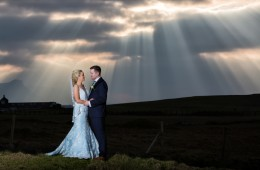 donegal and sligo wedding photographer stunning bride and groom photo with amazing sun rays