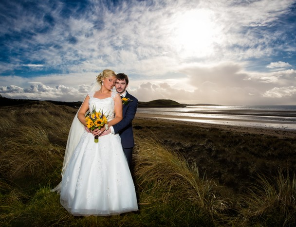donegal wedding photographer bride and groom at murvagh beach at sunset