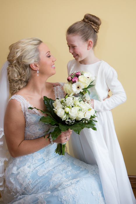 sligo wedding photographer bride with her flowergirl