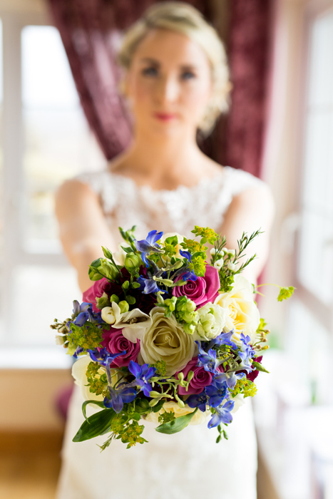 beautiful bride and her wedding bouquet