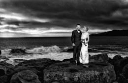 bride and groom at muckross head in donegal