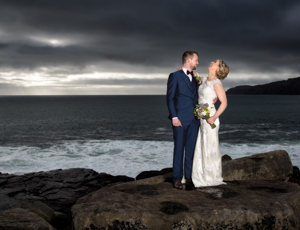 bride and groom wedding photo at muckross in donegal