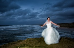 bride portrait at roughey cilff top in bundoran